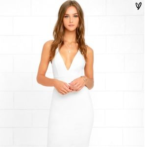LuLus Top Ranking White Midi Dress